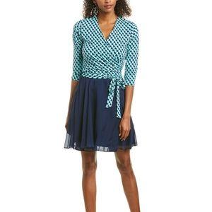 NWT DVF New Irina Silk Trim Combo Wrap Dress